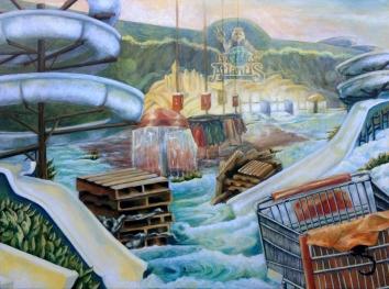 """Atlantis, oil on wood, 30"""" x 40"""""""