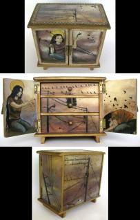 "Blackbird Reliquary, oil on wood box, 8"" x 9"" x 5"""