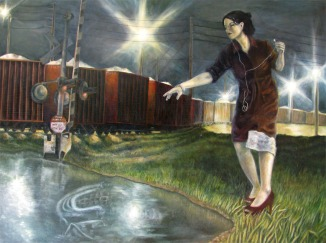 "Motive Power, oil on wood, 40"" x 30"""