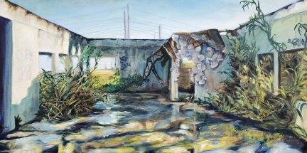 """Everglades Gatorland detail, oil on canvas, 15""""x30"""""""
