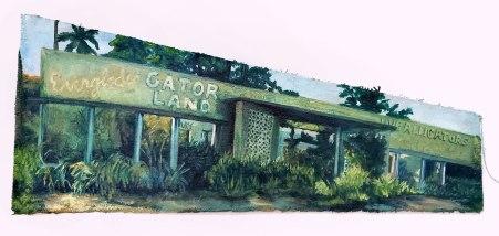 Everglades Gatorland detail, oil on canvas