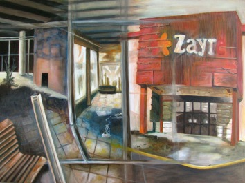 """The Fashion Center, oil on wood, 30"""" x 40"""""""
