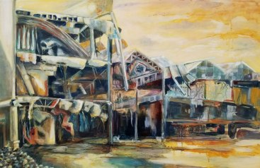 """Urban Sprawl (Plantation Fashion Mall), oil on wood, 20""""x30"""""""